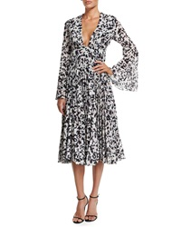 Camilla And Marc Long Sleeve Pleated Midi Cocktail Dress