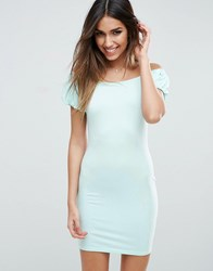 Asos Off Shoulder Mini Bodycon Dress With Puff Sleeve Mint Green