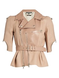 Alexander Mcqueen Cropped Leather Jacket Light Pink