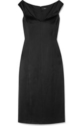 Theory Duchesse Satin Midi Dress Black