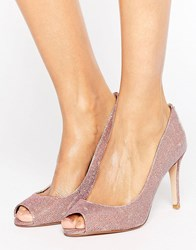 Dune Peep Toe High Heel Court Shoe Rose Gold Copper
