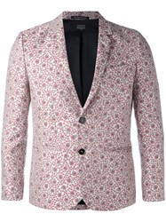 Garcons Infideles Floral Suit Jacket Unisex Polyester 46 White