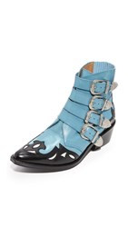 Toga Pulla Cowboy Buckle Booties Light Blue Black