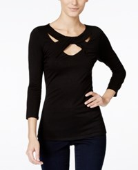 Inc International Concepts Three Quarter Sleeve Cutout Top Only At Macy's Deep Black