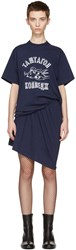 Junya Watanabe Navy Ruched T Shirt Dress
