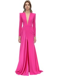Alex Perry Long Draped Techno Crepe Dress Fuchsia