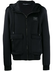 Dolce And Gabbana Logo Front Hoodie Black