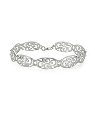 Lord And Taylor Sterling Silver High Polished Filigree Rectangle Link Bracelet