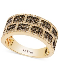 Le Vian White And Chocolate Diamond Rectangle Band In 14K Gold 1 1 4 Ct. T.W. Yellow Gold