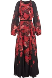 Giambattista Valli Layered Floral Print Silk Chiffon Maxi Dress