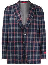 Isaia Plaid Fitted Blazer Blue