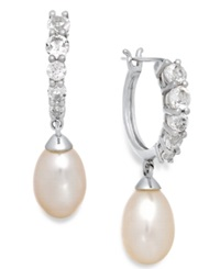 Macy's White Topaz 1 Ct. T.W. And Cultured Freshwater Pearl 7Mm Hoop Earrings In Sterling Silver