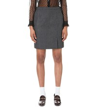 Claudie Pierlot Spirit Wool Blend Skirt Gris Chine