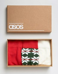 Asos Socks In Gift Box With Aztec Fair Isle Design 3 Pack Multi