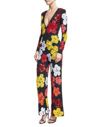 Naeem Khan Beaded Floral Long Sleeve Jumpsuit Navy