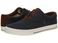 Polo Ralph Lauren Vaughn Denim Chambray Herringbone Sport Suede Men's Lace Up Casual Shoes Black