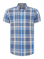 Wrangler Men's Check Short Sleeve Shirt Blue