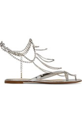 Gianvito Rossi Tennis Crystal Embellished Mirrored Leather Sandals Silver