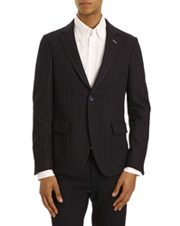 Gant Deconstructed Jacket Blue Striped Jersey Wool