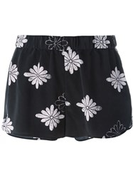 Equipment Relaxed Fit Flower Pattern Short Shorts Black