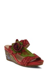L'artiste Shayla Wedge Sandal Red Leather