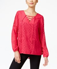 Ny Collection Sheer Illusion Peasant Top Pink