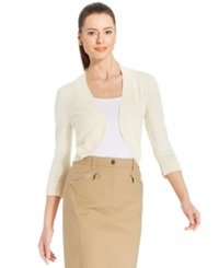 Jessica Howard Three Quarter Sleeve Open Front Cardigan Natural