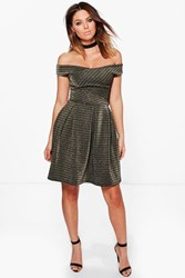 Boohoo Ray Cross Grain Metallic Stripe Skater Dress Grey