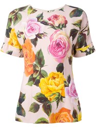 Dolce And Gabbana Rose Print T Shirt Pink Purple