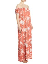 Rachel Pally Plus Size Off The Shoulder Peasant Ossiane Gown Chipotle Peony