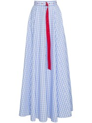 Adam Selman High Waist Gingham Cotton Maxi Skirt Blue