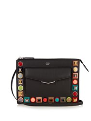 Fendi 2Jours Mini Embellished Leather Cross Body Bag Black Multi