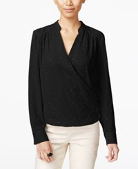 Inc International Concepts Surplice Blouse Only At Macy's Deep Black