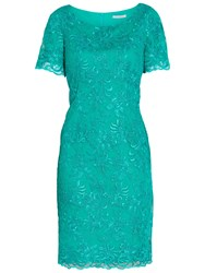 Gina Bacconi Embroidered Corded Dress Summer Green
