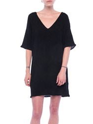 French Connection Susui Seersucker V Neck Dress Charcoal