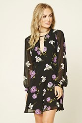 Forever 21 Contemporary Floral Mini Dress Black Purple