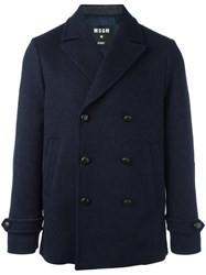 Msgm Double Breasted Coat Blue