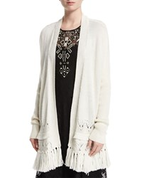 Nanette Lepore Pointelle Cardigan With Tassel Hem Size X Small Ivory