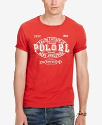 Polo Ralph Lauren Men's Big And Tall Graphic Print T Shirt Red