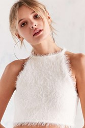 Kimchi And Blue Cassie Fuzzy High Neck Cami White