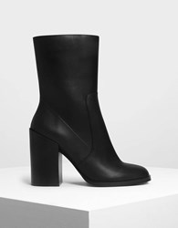 Charles And Keith Classic Calf Boots Black