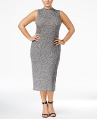 Monteau Trendy Plus Size Bodycon Sweater Dress Gray