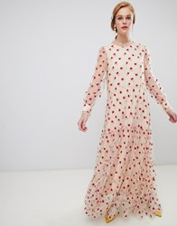 Sister Jane Long Sleeve Smock Dress With Delicate Rose Embroidery Sheer Rose Cream