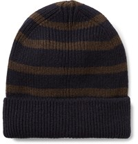 Universal Works Striped Ribbed Wool Blend Beanie Blue