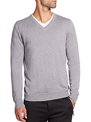 Saks Fifth Avenue Silk Blend V Neck Sweater Grey