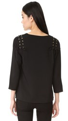Cooper And Ella Adel Lace Up Blouse Black