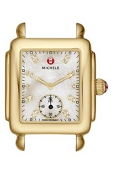 Michele Women's 'Deco 16' Diamond Dial Gold Watch Case 29Mm X 31Mm Gold