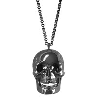 She Adorns Sterling Silver Black Skull Necklace