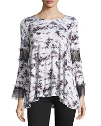 Romeo And Juliet Couture Tie Dye Lace Panel Long Sleeve Tee White Black