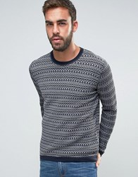 Boss Orange By Hugo Pattern Stripe Jumper Navy